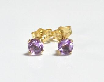 14k gold filled 4mm Amethyst Studs Earrings, Small Gemstone Stud Earrings , Purple gemstone earrings
