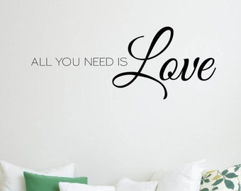 Vinyl Wall Word Decal - All You Need is Love - The Beatles All You Need Is Love Lyrics - The Beatles - Home Decor - Wall Word