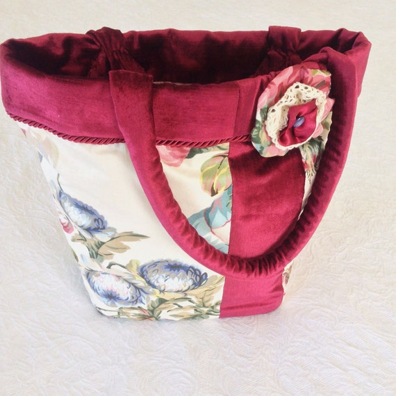 Tote Bag, Handmade Vintage Cottage Chic Handbag, Velvet Chintz Lace Bag, French Style Shoulder Bag, Carry-All, Christmas Women's Gift Idea