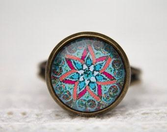 Mandala Ring, Blue Ring, Green Ring, Blue Green Ring, Mandala, Adjustable Ring, Glass Dome Ring, Statement Ring, Red, Orange