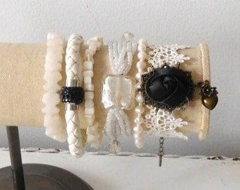 White Bracelets Lace Leather Elastic Stack Boho Wedding Black Rhinestone White Leather Cuff Bohemian Bracelet