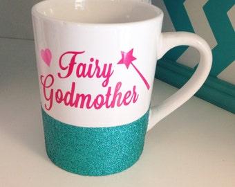 Glitter Dipped Fairy Godmother Mug, Godmother