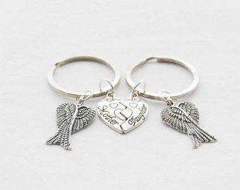 Mother Daughter Keychains Mother Daughter Gifts Angel Keychains Mother's Day Gift Mother Family Keychains 2 Wings Keychains Wing Key rings