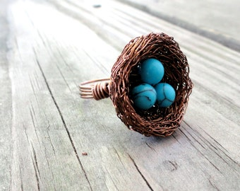 Ring , birds nest ring , nest ring, wire wrapped ring , beaded ring , nature jewelry,  turquoise ring, any size bird nest ring