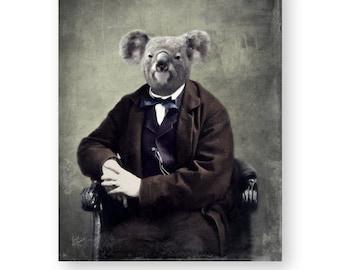 "Koala Bear Art Print Animal Art Unique Home Decor Animals In Clothes Nursery Art Victorian Wall Art (3 Sizes Available) ""Judge Melbourne"""