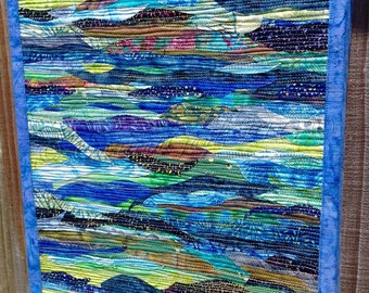 "Under the Flowing Waters I Abstract Art Quilt - Original Art (14"" x 18"")"