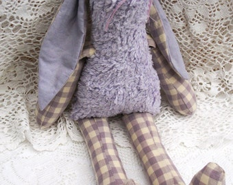 Stuffed Bunny Rabbit made in purple  gingham and chenille fabric, 38 cms