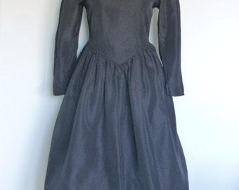 Original Vintage 80s Black Dress UK 12/14 by Vivien Smith Rockabilly Swing Party