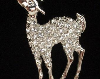Fawn Deer Pin Rhinestones