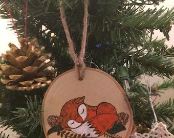 Woodland Fox Ornament, Christmas Ornament