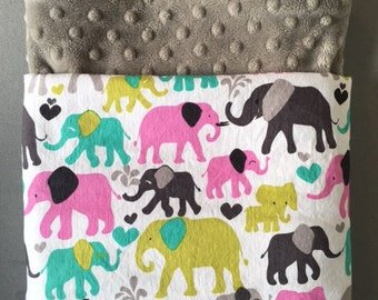 Elephant Baby Blanket with Minky - customize color and size Michael Miller's Elephant Walk Orchid fabric with pink grey green turquoise