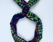 Woven Navy, Green Aztec- Byrd Band- Bendable Wire Headband for adults, kids, baby
