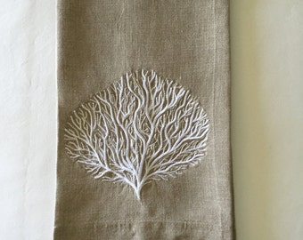 Embroidered Tea Towel, Guest Towel or Hand Towel.  Sea Fan embroidered in White.  Beach Decor.  Hostess Gift.