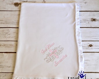 Embroidered baptism blanket/ personalized baptism blanket/ bautizo/ bautismo/ baptism/ christening blanket/ personalized blanket/ faith