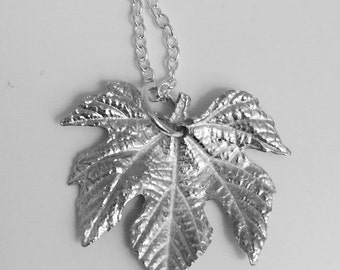 Silver Leaf Necklace, Botanical Jewelry