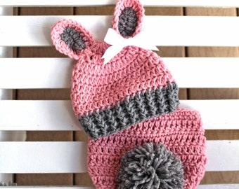 Bunny Hat/Diaper Cover Set, Girl Bunny Hat,Bunny Hats, Girl Hat, Newborn Hats, Infant Hats, Baby Hats, Photo Prop