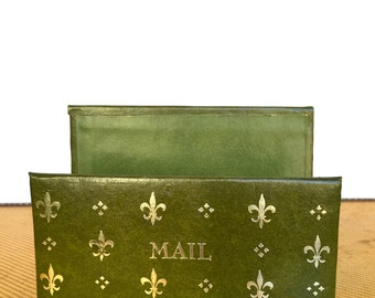 "Retro Green Leather ""Mail"" Holder, Vintage"