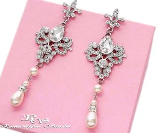 Victorian bridal earrings wedding jewelry accessories Swarovski pearl crystal earrings chandelier earrings bridal jewelry 1315