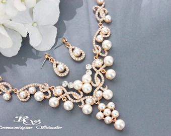 GOLD wedding pearl jewelry set, Bridal pearl jewelry set, Wedding pearl necklace set, Wedding accessories, Bridal pearl necklace set S0148G