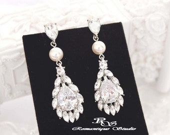 Cubic zirconia wedding earrings, Pearl CZ Bridal earrings, Swarovski crystal earrings, Bridal jewelry, Wedding jewelry 1342