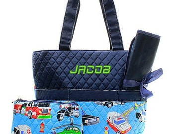 Monogrammed Fire Truck Diaper Bag Navy Blue Quilted Baby Tote Personalized Embroidered