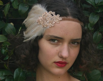 CHAMPAGNE BEADED Headpiece, 1920s Hair Accessory, Flapper Champagne Headband Beige OR Black Feather Headpiece, Beaded Fascinator
