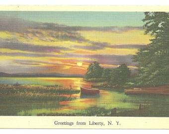 Greetings from Liberty, N.Y. 1938 Linen Era Postcard