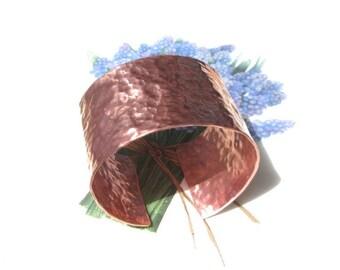 Copper cuff cuff wide hammered bracelet copper