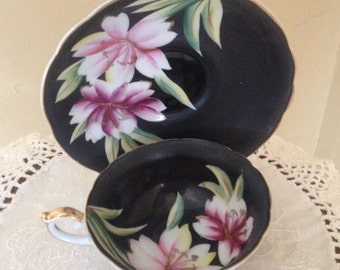 Vintage Ardalt, Lenwile,  tea cup and saucer-marked  Occupied Japan Black Hand Painted with Lotus Blossom