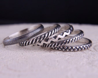 Set of 5 sterling silver stacking rings.Rustic band rings.Organic jewellery.Stackable rings.Eco.Custom made.Hand made.