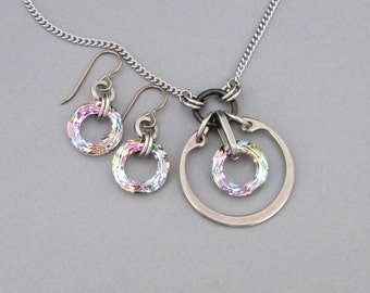 Crystal Necklace and Earring Set, Matching Jewelry Set, Stainless Steel Jewelry Set, Pastel Crystal Jewelry Set, Swarovski Crystal Pendant