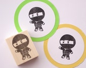 Kawaii Ninja stamp, Cute stationery, Kids gift tags, Birthday card for boy, Black Japan, Gift wrapping, Rubber stamp for boy, Hobonichi