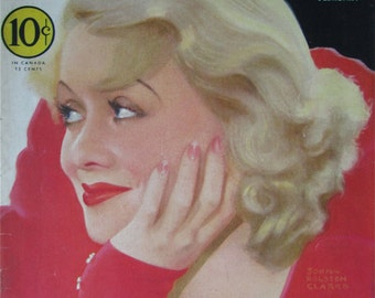 Original February 1933 Constance Bennett Silver Screen Magazine Cover By John Rolston Clarke