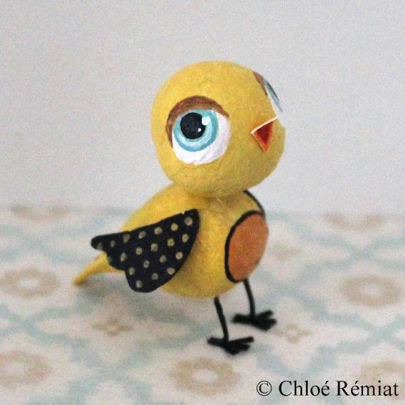 Mini oiseau jaune et noir par chloeremiat sur etsy for Oiseau jaune et noir