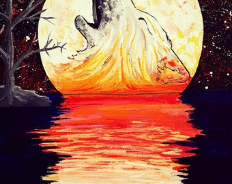 Hunter's Moon- Wolf Gilcee Art Print Fantasy Wall Decor