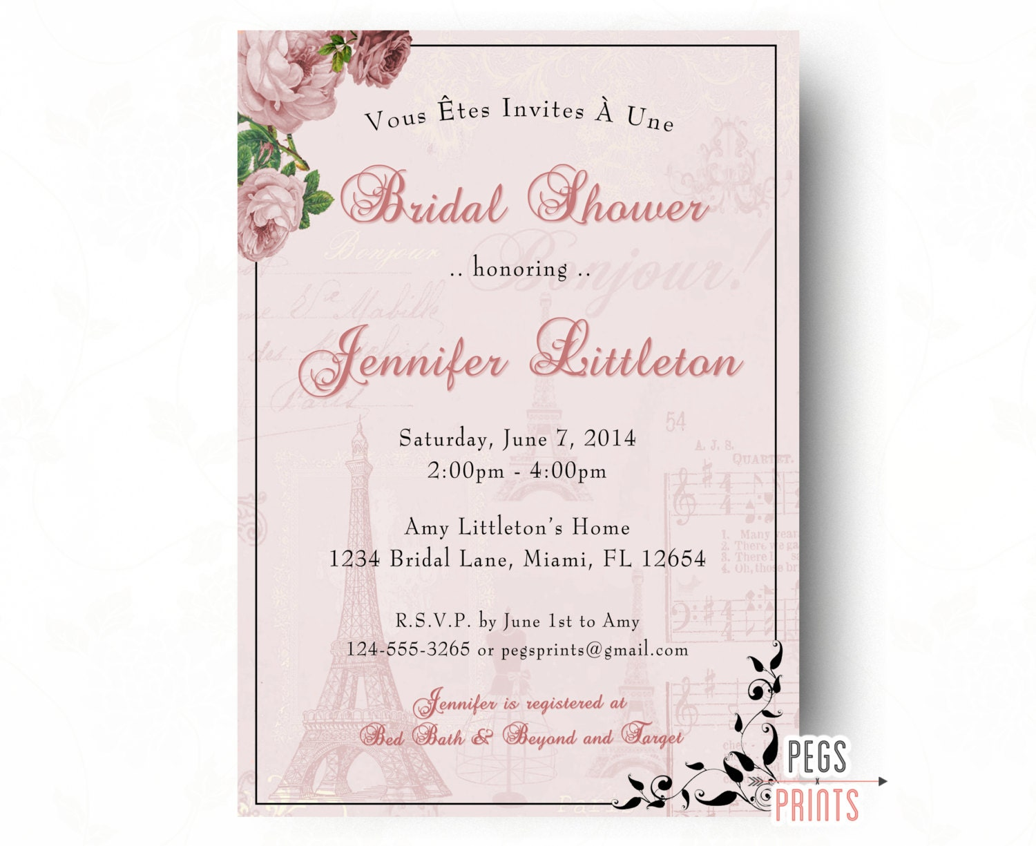 parisian themed bridal shower invitations - 28 images - vintage ...
