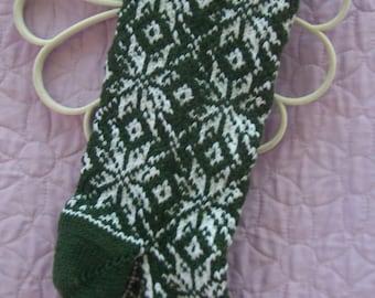 Fair Isle Christmas stocking, Green Christmas stocking, Handknit Christmas stocking, Snowflake Christmas stocking, Patterned Stocking