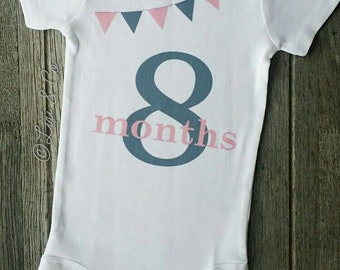One year old girl birthday outfit personalized girl first baby girl clothes pink 8 months old girl clothing baby gift set eight negle Gallery