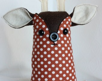 Jolly Belly Reindeer Brown White Dots Softie Plush Christmas Holiday Jingle Bell Deer