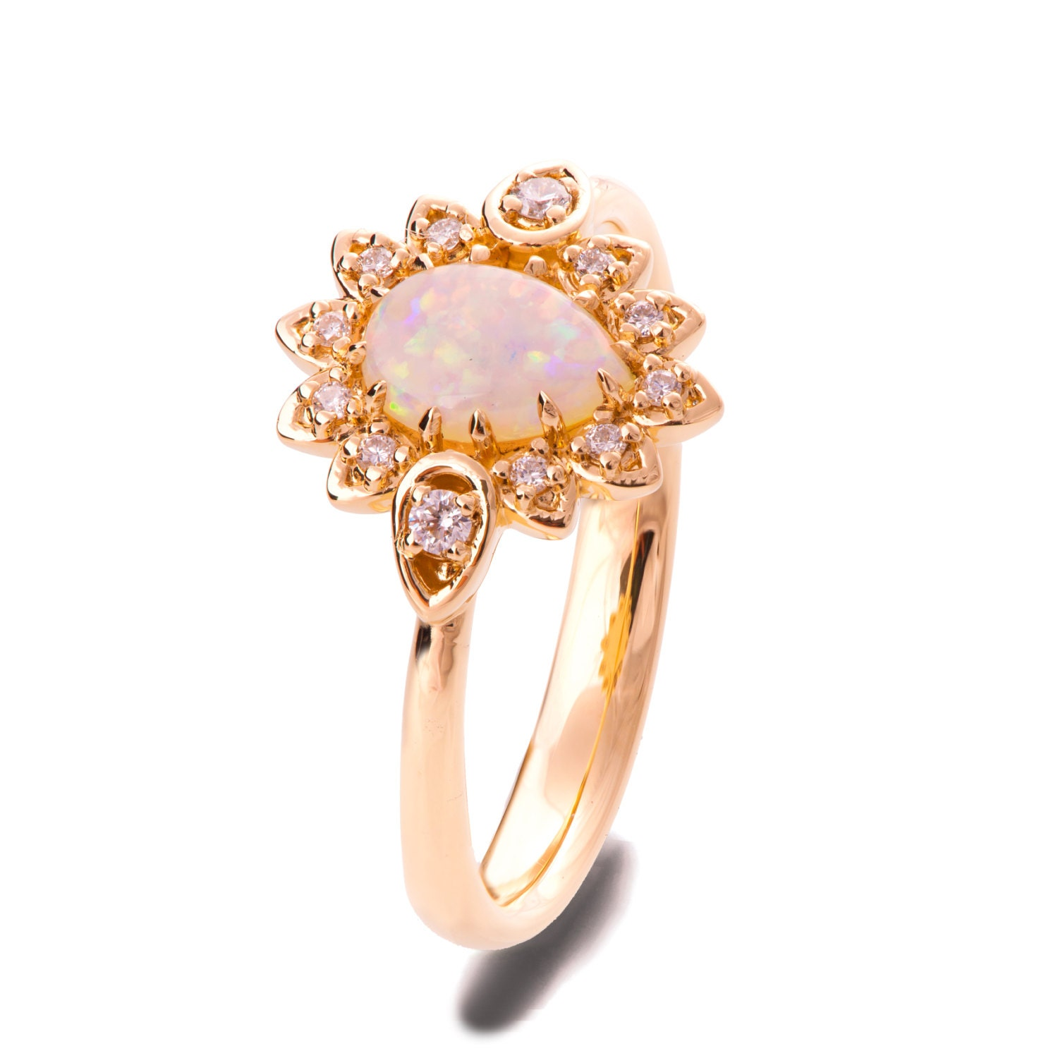Opal engagement ring Opal ring Rose Gold Ring Opal Jewelry