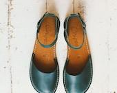 Dark Green Sandals, Handmade Women Sandals, Dark Color, Marry Jane Sandals, Summer Sandals