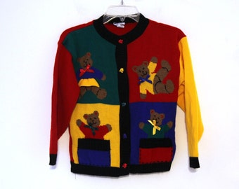 Vintage 80s Sweater ugly teddy bears primary colors color block red yellow blue cutre