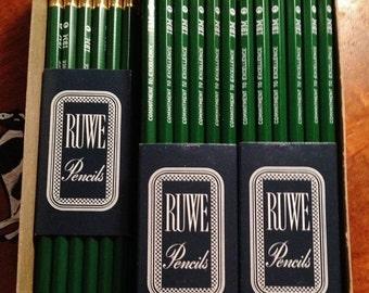 ON SALE - 12 Unused Vintage Ruwe #3 Pencils in Original Sleeve - IBM Corporation