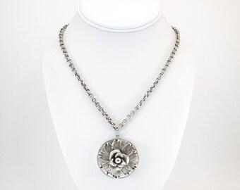 Vintage Rose Pendant Necklace, Silver Tone