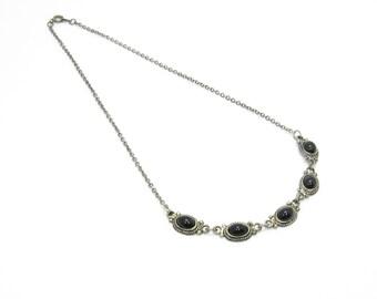 Vintage Black Cabochon Necklace, Links, Lucite, Silver Tone