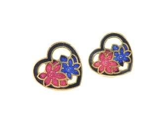 Vintage Heart Earrings, Cloisonne, Flowers, Enamel, Gold Tone, Posts