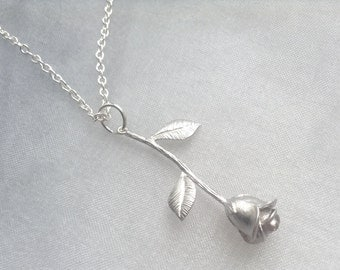 Silver Rose Necklace -  3D Rose Pendant, Gift for Her, Jewelry, Phantom of the Opera