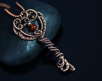 Wire wrapped key pendant copper wire jewelry garnet gemstone pendant unique gift 18th or 21st birthday fantasy medieval handmade jewelry