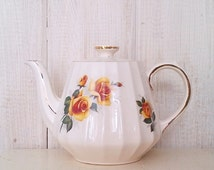 Sadler White and Yellow Rose Floral Print Teapot - Made in England