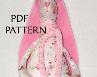 PDF Pattern. Bunny Pattern. Sewing Pattern ONLY.  Shabby chic Bunny Pattern. Soft toy Pattern. Cloth toy Pattern. Plush toy Pattern.